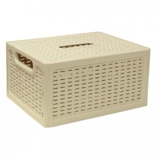 """Ящик 6,3л для хранения универсальный IDEA, """"Ротанг"""", с крышкой, (в12,6*ш28*г18,5см), бежевый, М 2372"""