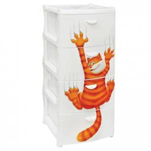"""Комод универсальный IDEA, """"Рыжий кот"""", 4 секции, габариты в сборе (в96*ш40*г50см), белый, М 2805"""