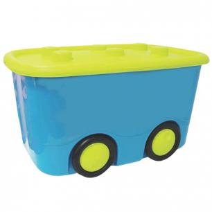 """Ящик 25л для хранения детский IDEA, """"Моби"""", на колесах, крышка, (в41*ш32*г60см), бирюзовый, М 2598"""
