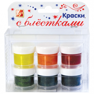 Краски с блестками ЛУЧ, 6 цв., пластиковая упаковка с европодвесом, 23С1443-08