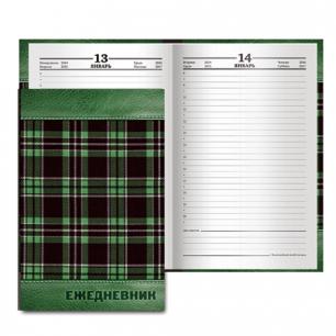 """Ежедневник BRAUBERG полудат. на 4 года А5 133*205мм, """"Кожа зелен, шотландка"""", 192л., обл.шелк, 121594"""