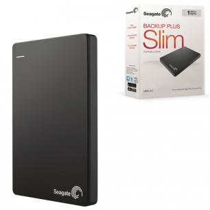 Диск жесткий внешний SEAGATE Backup Plus Slim 1TB, USB 3.0/2.0, ЧЕРНЫЙ (STDR1000200)