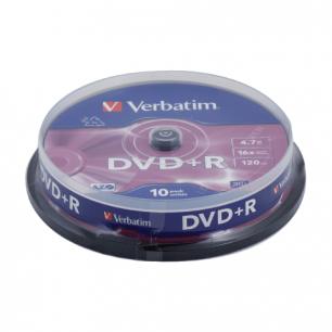 Диски DVD+R (плюс)  VERBATIM 4,7Gb 16x 10шт. Cake Box 43498 (ш/к-4986)