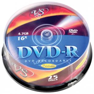 Диски DVD-R VS 4,7Gb 16x 25шт Cake Box с поверхностью для печати VSDVDRIPCB2501 (ш/к - 20342)