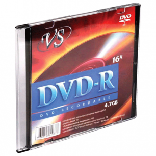 Диск DVD-R VS 4,7Gb 16x Slim Case VSDVDRSL01