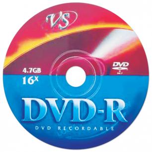 Диск DVD-R VS 4,7Gb 16x бумажный конверт (ш/к - 35162)
