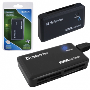 Картридер DEFENDER OPTIMUS USB 2.0, порты SD/MMC, TF, M2, MC, CF, XD, 83501