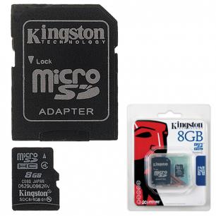 Карта памяти micro SDHC 8Gb KINGSTON скорость передачи данных 4Мб/сек (class 4)  с адаптером, SDC4/8GB