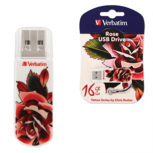 Флэш-диск VERBATIM 16GB Mini Tattoo Edition Rose, USB 2.0,скорость чтения/записи - 8/2,5 Мб/сек