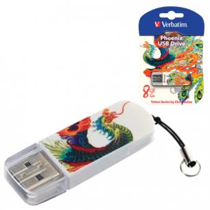 Флэш-диск VERBATIM 8GB Mini Tattoo Edition Phoenix, USB 2.0,скорость чтения/записи - 8/2,5 Мб/сек