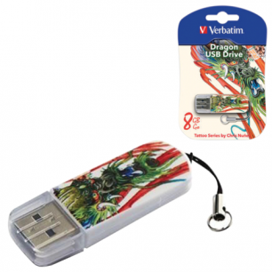 Флэш-диск VERBATIM 8GB Mini Tattoo Edition Dragon, USB 2.0,скорость чтения/записи - 8/2,5 Мб/сек