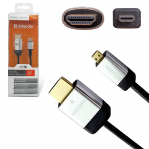 Кабель HDMI А-D (micro)  DEFENDER PRO, 1,8м, для высокоскоростной передачи цифр. аудио-видео, 87461