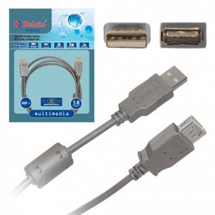 Кабель USB 2.0 AM-AF BELSIS 1,8м, удлинитель USB-порта, 1 фильтр, BW1401