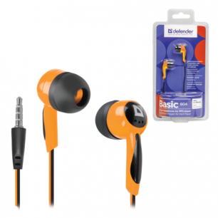 Наушники DEFENDER Basic 604, проводные, 1,2 м, вкладыши, черные с оранжевым, 63606