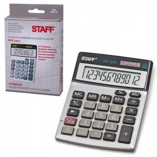 Калькулятор STAFF настольный металлический STF-1212, 12 разрядов, двойное питание, 140х105мм