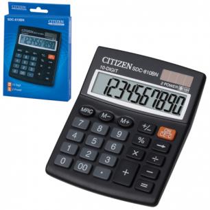 Калькулятор CITIZEN настольный SDC-810BN, 10 разрядов, двойное питание, 124x102мм