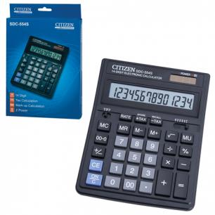 Калькулятор CITIZEN настольный SDC-554, 14 разрядов, двойное питание, 199x153мм