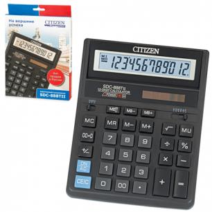 Калькулятор CITIZEN настольный SDC-888T, 12 разрядов, двойное питание, 205х159мм