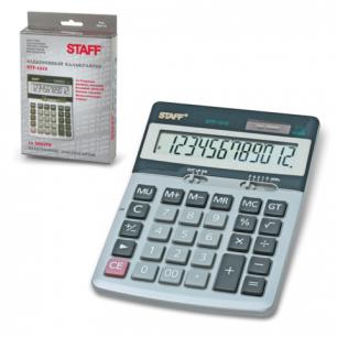 Калькулятор STAFF настольный металлический STF-1312, 12 разрядов, двойное питание, 170х125мм
