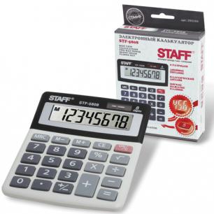 Калькулятор STAFF настольный STF-5808, 8 разрядов, двойное питание, 134х107мм
