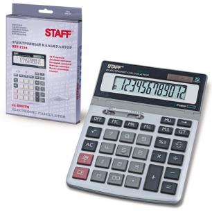 Калькулятор STAFF настольный металлический STF-1712, 12 разрядов, двойное питание, 200х152мм