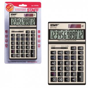 Калькулятор STAFF настольный металлический STF-7712-GOLD ЗОЛОТИСТЫЙ, 12 разрядов, 179х107мм, блистер