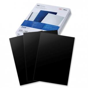 Обложки д/переплета GBC (ДжиБиСи), КОМПЛЕКТ 100шт, HiGloss, А4, картон 250г/м2, черные, CE020010