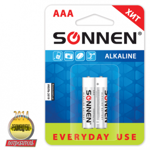 Батарейки SONNEN, AAA (LR03), КОМПЛЕКТ 2шт., АЛКАЛИН, в блистере, 1.5В, 451087