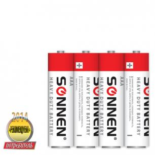 Батарейки SONNEN, AAA (R03), КОМПЛЕКТ 4шт., солевые, в спайке, 1.5В, 451098