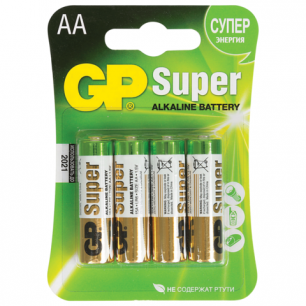 Батарейки GP (Джи-Пи)  Alkaline AA (LR06, 15А), КОМПЛЕКТ 4шт., в блистере, 1.5В