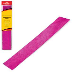 Цветная бумага КРЕПИРОВАННАЯ BRAUBERG, растяжение до 35%, 50г/м, подвес, МЕТАЛ.розов, 50*100см, 124741