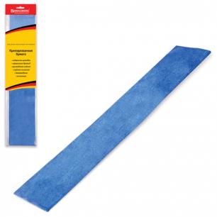 Цветная бумага КРЕПИРОВАННАЯ BRAUBERG, растяжение до 35%, 50г/м, подвес, МЕТАЛ.синяя, 50*100см, 124740