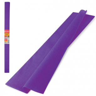 Цветная бумага КРЕПИРОВАННАЯ BRAUBERG, ПЛОТНАЯ, растяжение до 45%, 32г/м, рулон, фиол, 50*250см, 126533