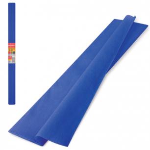 Цветная бумага КРЕПИРОВАННАЯ BRAUBERG, ПЛОТНАЯ, растяжение до 45%, 32г/м, рулон, синяя, 50*250см, 126535