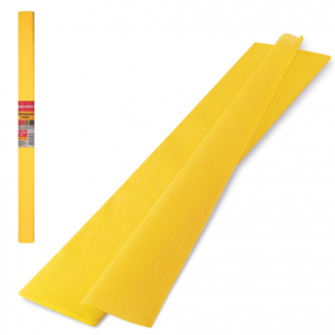 Цветная бумага КРЕПИРОВАННАЯ BRAUBERG, ПЛОТНАЯ, растяжение до 45%, 32г/м, рулон, желт, 50*250см, 126529