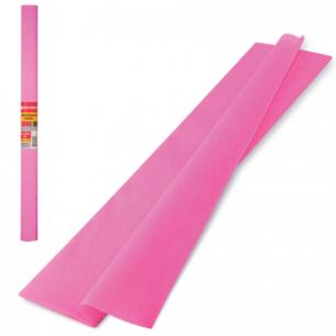 Цветная бумага КРЕПИРОВАННАЯ BRAUBERG, ПЛОТНАЯ, растяжение до 45%, 32г/м, рулон, розов, 50*250см, 126532