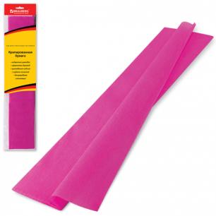 Цветная бумага КРЕПИРОВАННАЯ BRAUBERG, растяжение до 65%, 25г/м, европодвес, т-розов, 50*200см, 124736
