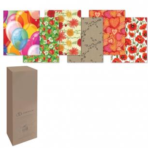 Бумага упаковочная подарочная, в рулонах, глянцевая, 2листа 0,7х1м, рисунок ассорти (женский), шк1618
