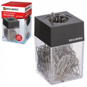 Скрепочница магнитная BRAUBERG с 30 скрепками, прозрачный корпус, черная крышка, 225189