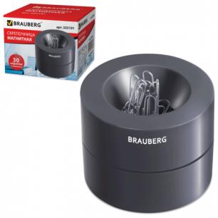 Скрепочница магнитная BRAUBERG с 30 скрепками, большой бочонок, черная, 225191