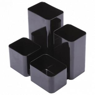 """Подставка-органайзер СТАММ """"Юниор"""", 86*108*102 мм, 4 отделения, черная, ОР21"""