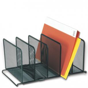"""Подставка для сортировки писем и бумаг 5-ти секц. BRAUBERG """"Germanium"""", металл, настол, черн, 231968"""
