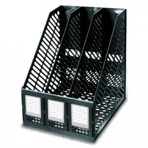 Лоток вертикальный для бумаг ERICH KRAUSE сборный (3 отделения)  ширина 225 мм, черный, 13096