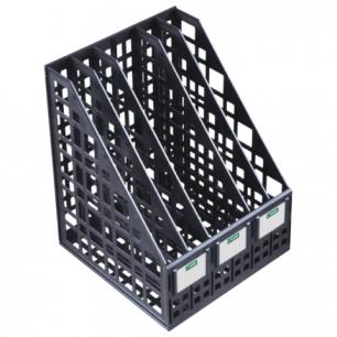 Лоток вертикальный для бумаг СТАММ ширина 240 мм, 5 отделений, сетчатый, сборный, черный, ЛТ85