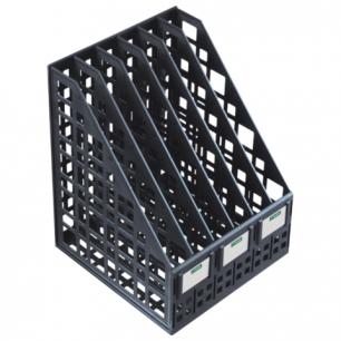 Лоток вертикальный для бумаг СТАММ ширина 240 мм, 6 отделений, сетчатый, сборный, черный, ЛТ87
