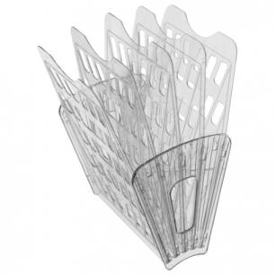 Лоток для бумаг СТАММ 5-ти секционный, 4 отделения, прозрачный, ЛТ92