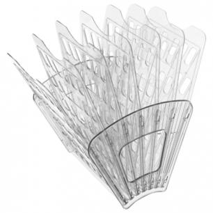 Лоток для бумаг СТАММ 7-ми секционный, 6 отделений, прозрачный, ЛТ43