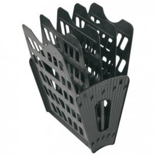 Лоток для бумаг СТАММ 5-ти секционный, 4 отделения, черный, ЛТ91