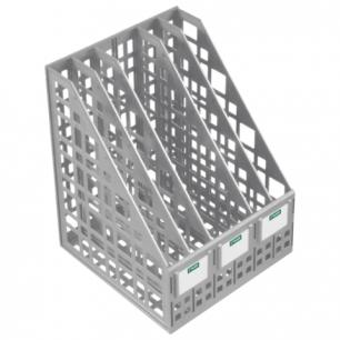 Лоток вертикальный для бумаг СТАММ ширина 240 мм, 5 отделений, сетчатый, сборный, серый, ЛТ84
