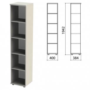 """Шкаф (стеллаж)  """"Этюд"""" (ш400*г384*в1942 мм), 4 полки, серый 03, 400000, ш/к 30245"""